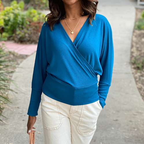 Annie Blue Dolman Long Sleeves Wrap Knit Top with TENCEL™ Modal fibers