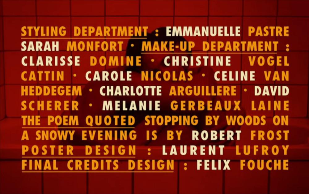 Générique de Love (Gaspar Noé). Son réalisateur étant passionné d'affiches, il a tenu à créditer son affichiste habituel Laurent Lufroy qui fut l'un des derniers affichistes à être nominé au César de la meilleure affiche (pour Valmont) © Wild Bunch - 2015