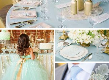 Azul claro e dourado - Milene Erdmann Cerimonial e Assessoria - Combinação de Decoração de Casamento