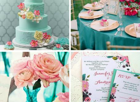 Azul Thiffany e Roza - Milene Erdmann Cerimonial e Assessoria - Combinação de Decoração de Casamento