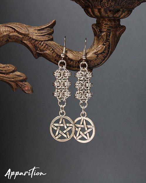 Jueru Pentacle Chainmaille Earrings