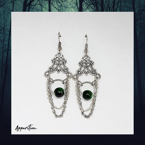 Green Bead Chandelier Earrings
