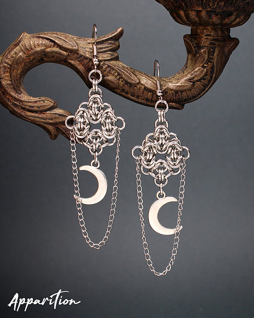 Moon Goddess Chainmaille Earrings