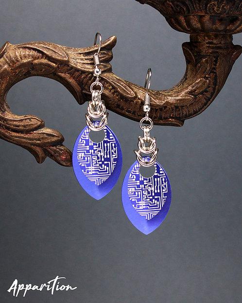 Purple Cyberpunk Scalemaille Earrings