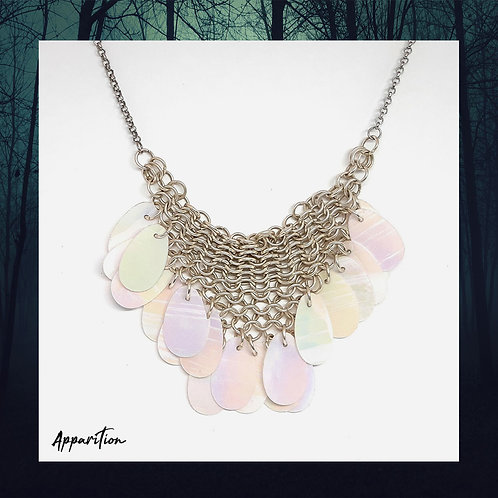 Pearlescent Fringe Statement Chainmaille Necklace