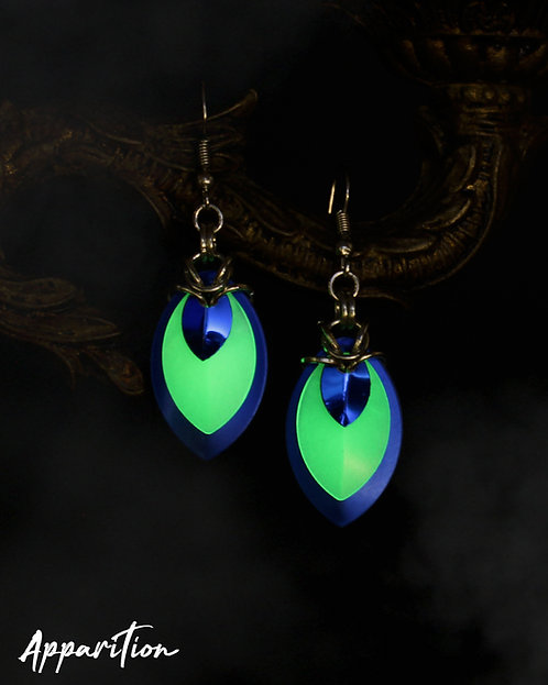 Gemini Blue Scalemaille Earrings
