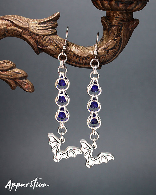 Midnight Bats Chainmaille Earrings