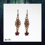 Golden Fire Flower Chainmaille Earrings