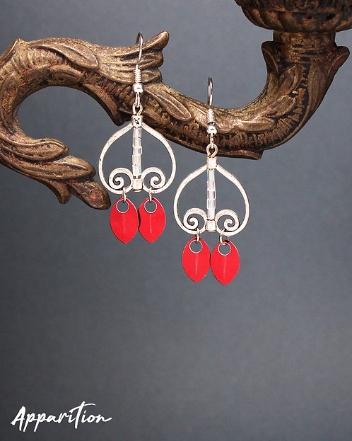 Red Hayley Scalemaille Earrings