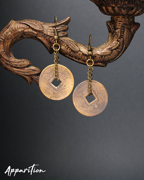 Chinese Coin Bronze Earrings