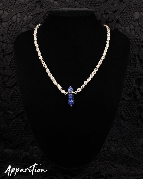 Sodalite Crystal Twist Chainmaille Necklace