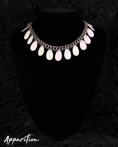 White Fringe Chainmaille Necklace