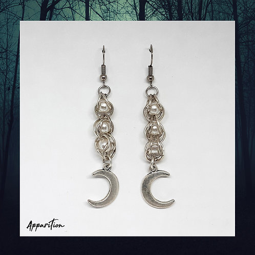 Captured Beads & Moon Chainmaille Earrings