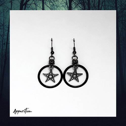 Black Star Chainmaille Earrings