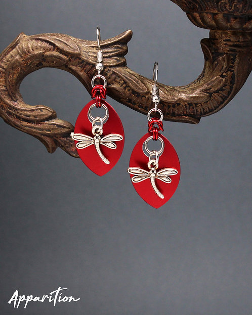 Red Dragonfly Scale Earrings