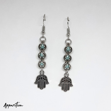 Blue Khamsa Chainmaille Earrings