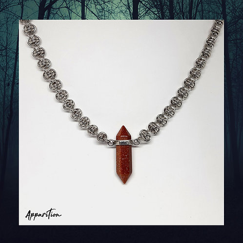 Goldstone Crystal Chainmaille Necklace