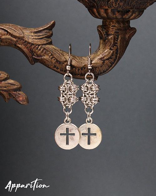 Jueru Cross Chainmaille Earrings