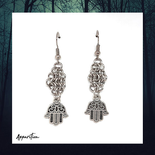 Hamsa Cluster Chainmaille Earrings
