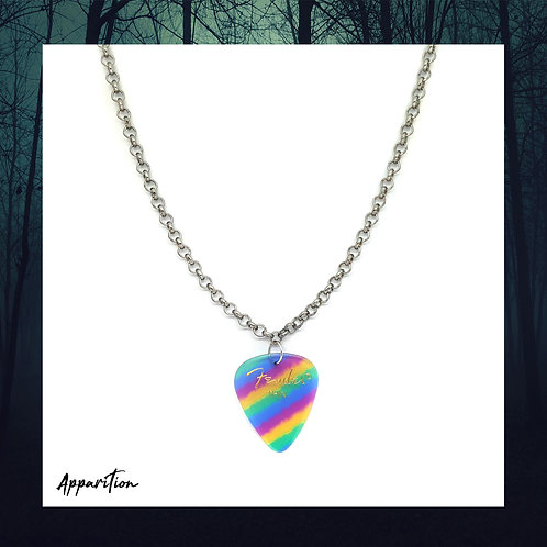 The Rainbow Bard Plectrum Silver Necklace