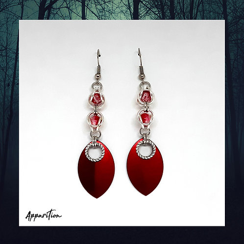 Red La Rosa Chainmaille Earrings