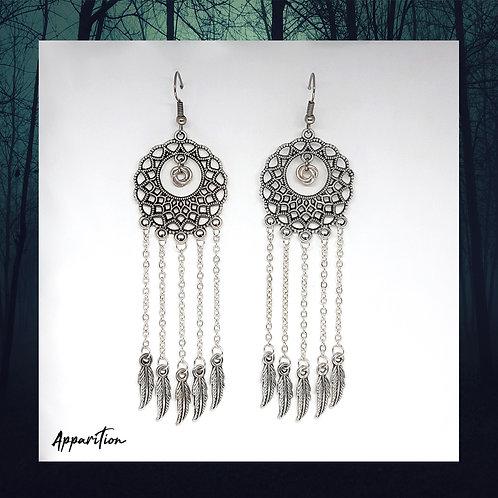 Feather & Mobius Chandelier Earrings