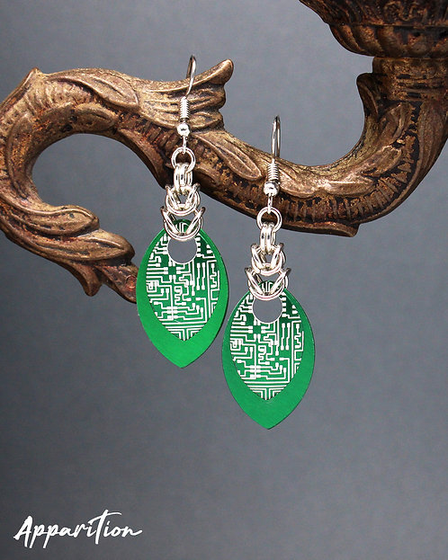 Green Cyberpunk Scalemaille Earrings
