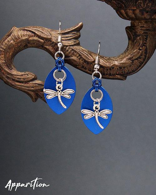 Blue Dragonfly Scale Earrings