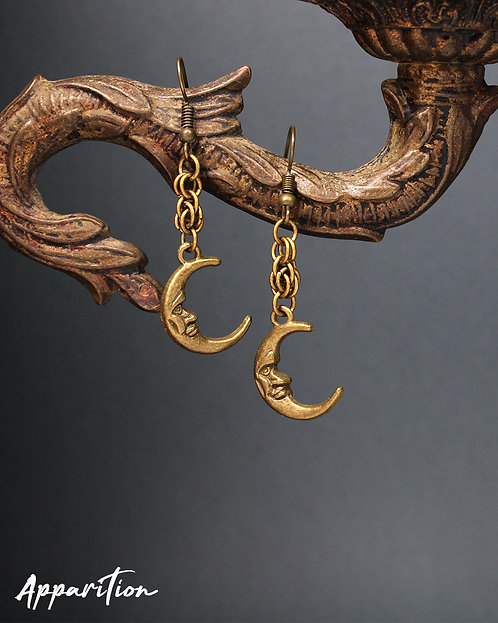 Bronzed Moon Chainmaille Earrings
