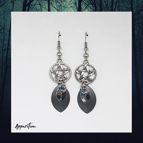 Gray Witch Chainmaille Earrings