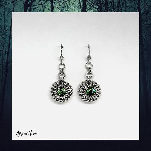 The Duchess Peridot Swarovski Chainmaille Earrings
