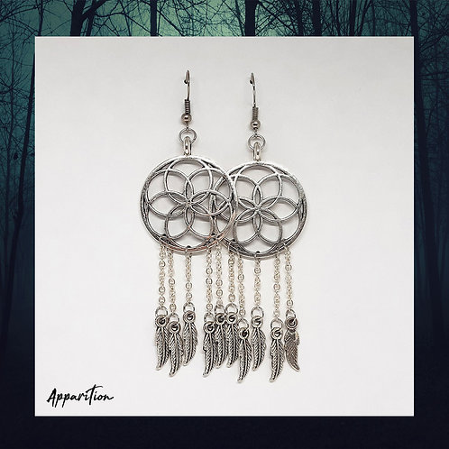 Seed Of Life Dream Catcher Earrings