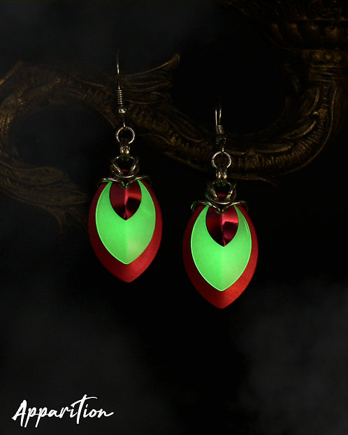 Gemini Red Scalemaille Earrings