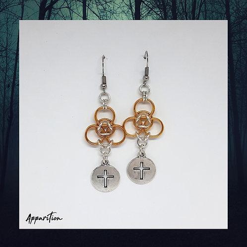 Golden Cross Chainmaille Earrings