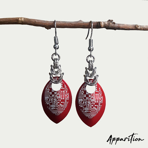 Red Cyberpunk Scalemaille Earrings