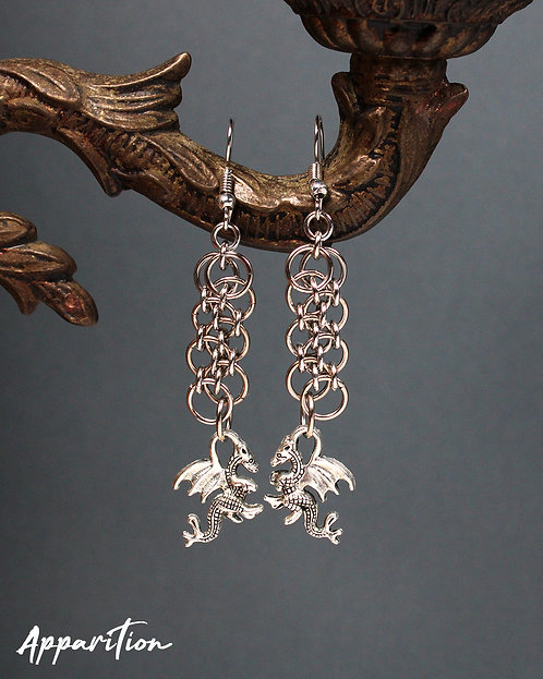 Dragon Element Chainmaille Earrings
