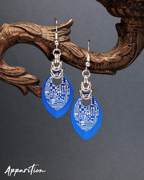 Blue Cyberpunk Scalemaille Earrings
