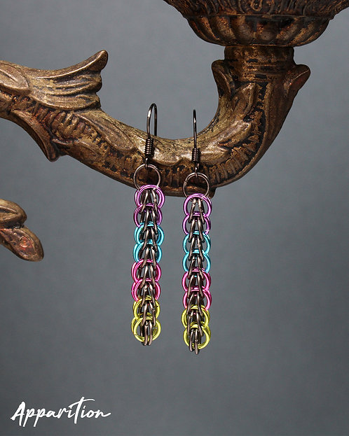 Rainbow Drop Chainmaille Earrings