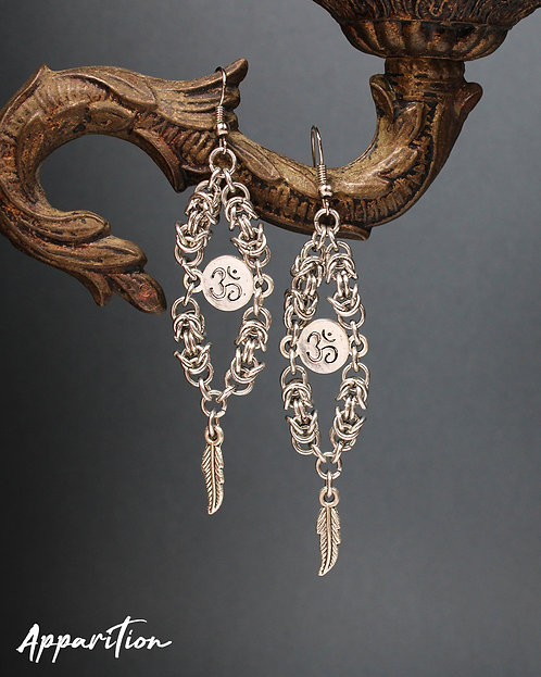 Om & Feather Chainmaille Earrings