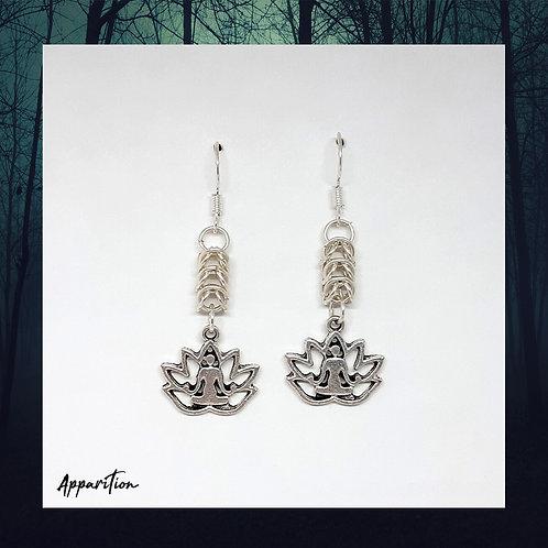 Lotus Yoga Chainmaille Earrings