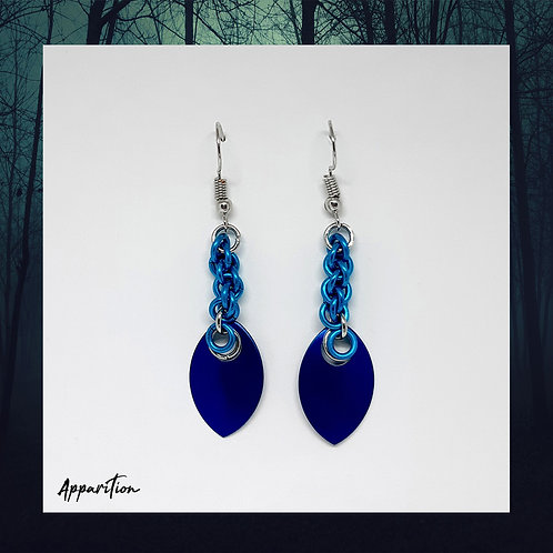 Blue Braid Scalemaille Earrings