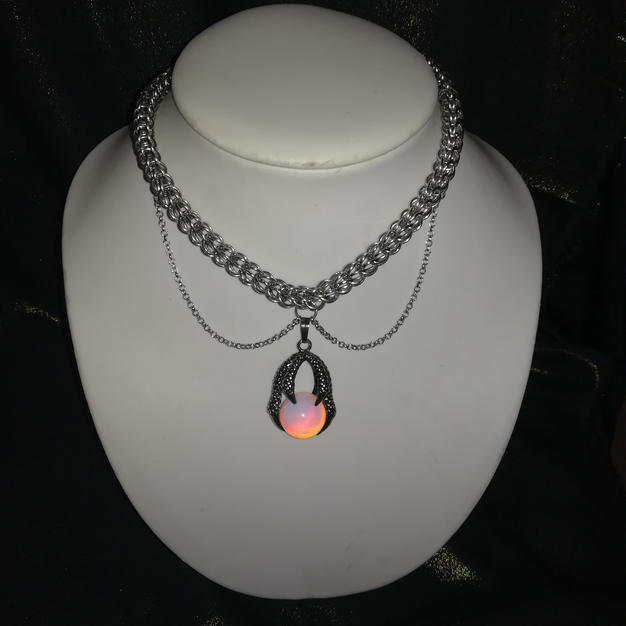 Opal Dragon Claw Chainmaille Necklac