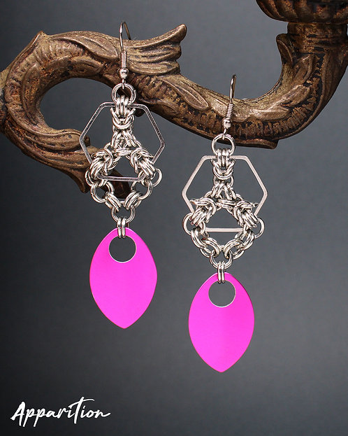 Pink Dreams Chainmaille Earrings