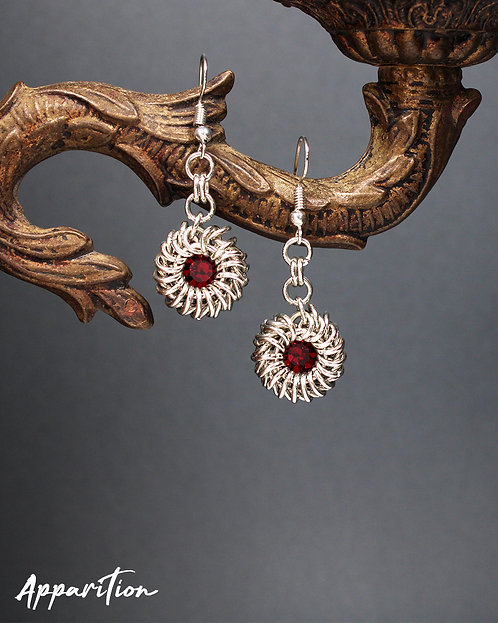 The Duchess Ruby Swarovski Chainmaille Earrings