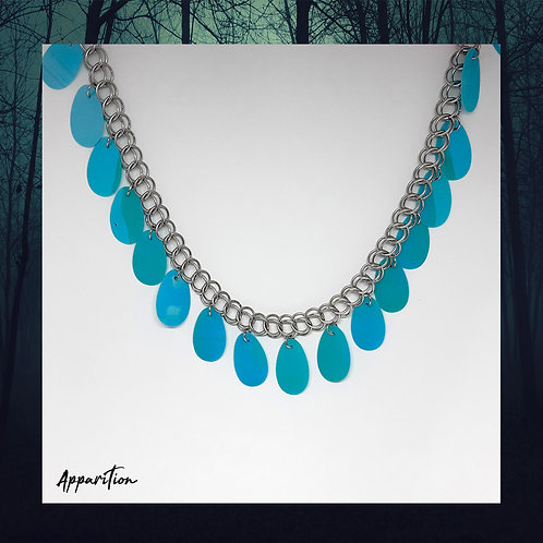 Blue Fringe Chainmaille Necklace