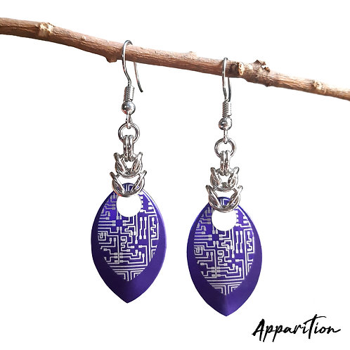 Purple Cyberpunk Scalemaille Earrings