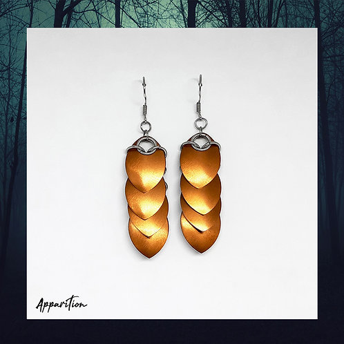 Bronze Dragon Tail Scalemaille Earrings