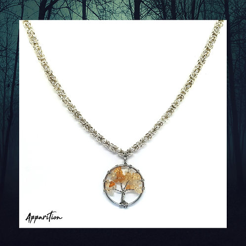 Citrine Tree of Life Chainmaille Necklace