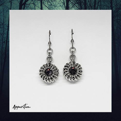 The Duchess Antique Pink Swarovski Chainmaille Earrings