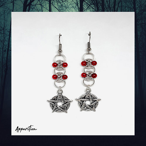 The Red Witch Chainmaille Earrings